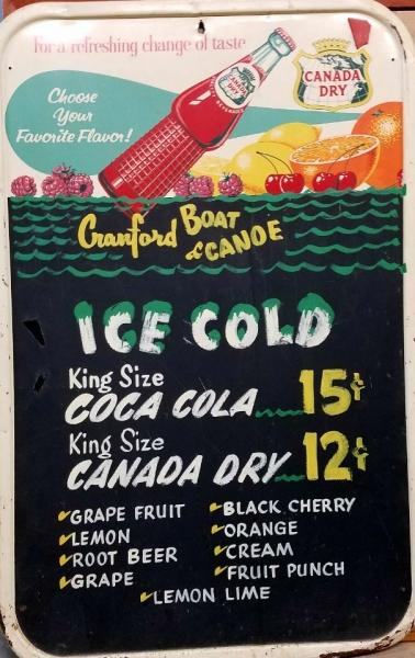 Cranford Canoe Club Soda Sign 1960s