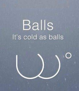 The term Cold as Balls is not what you think. It's an interesting tale.