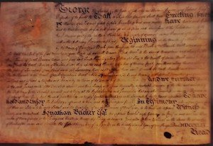 This is a photograph of the original Charter of Bedminster - now in the possession of the Forbes Family.