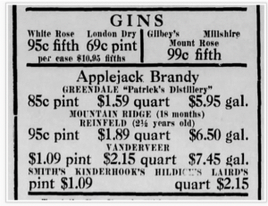An advertisement in the Bernardsville News for liquor prices in 1936