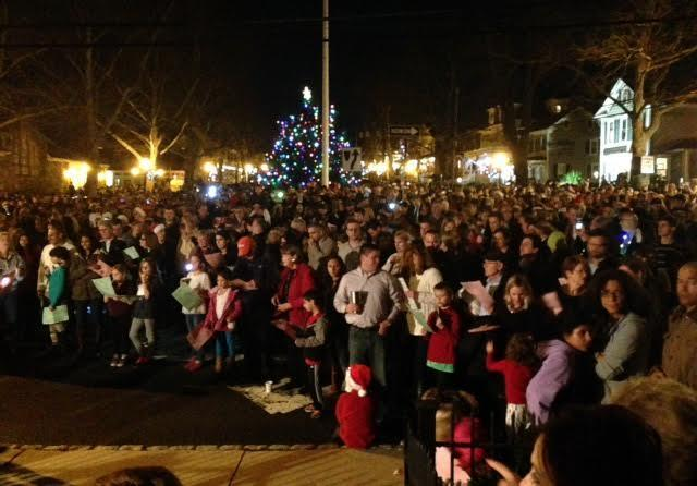 View from the BRPC of the Christmas Eve carolers in Basking Ridge