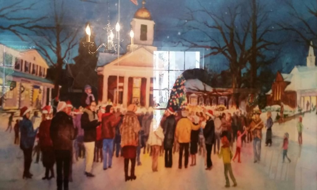 A local artist rendering of Christmas Eve in Basking Ridge. Photo taken at the Ross Farm display 2016.