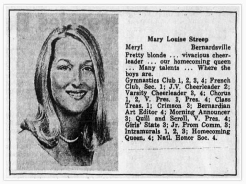 Meryl Streep Yearbook – Bernards High – Senior/12th grade1967