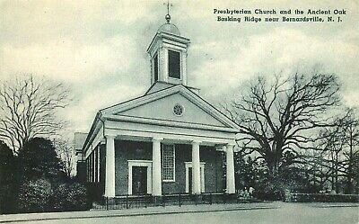 Historic image of the Basking Ridge Presbyterian Church in Basking Ridge