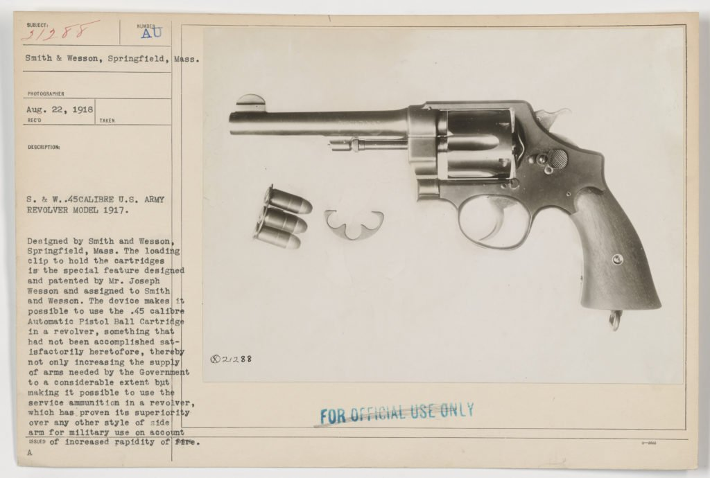 In 1917 the Smith & Wesson revolver was selected for service. The cost was $15. Source: Wikipedia