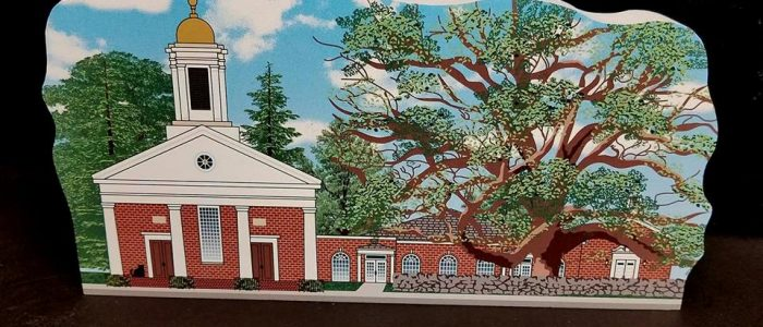 The Basking Ridge Presbyterian Church and the former historic oak tree is an iconic scene of the Basking Ridge Village.