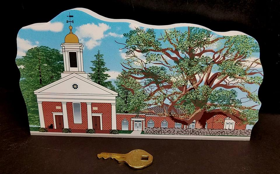Basking Ridge Wooden Cats Meow Keepsake - The Cat's Meow Basking Ridge Presbyterian Church and Historic Basking Ridge Oak Tree.