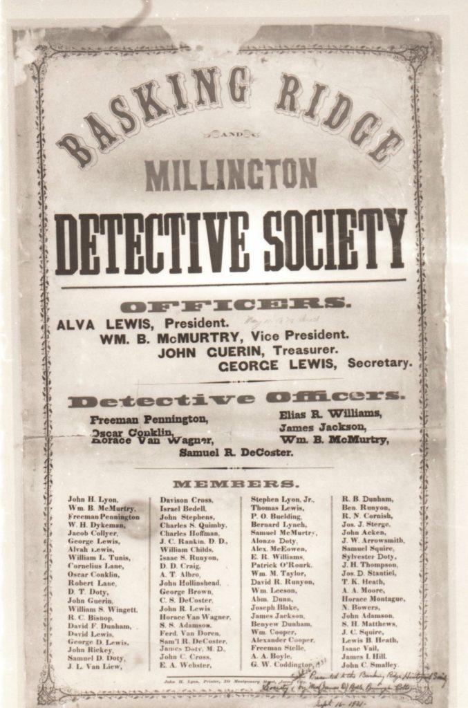 The Basking Ridge Detective Society. Source: The Historical Society of the Somerset Hills