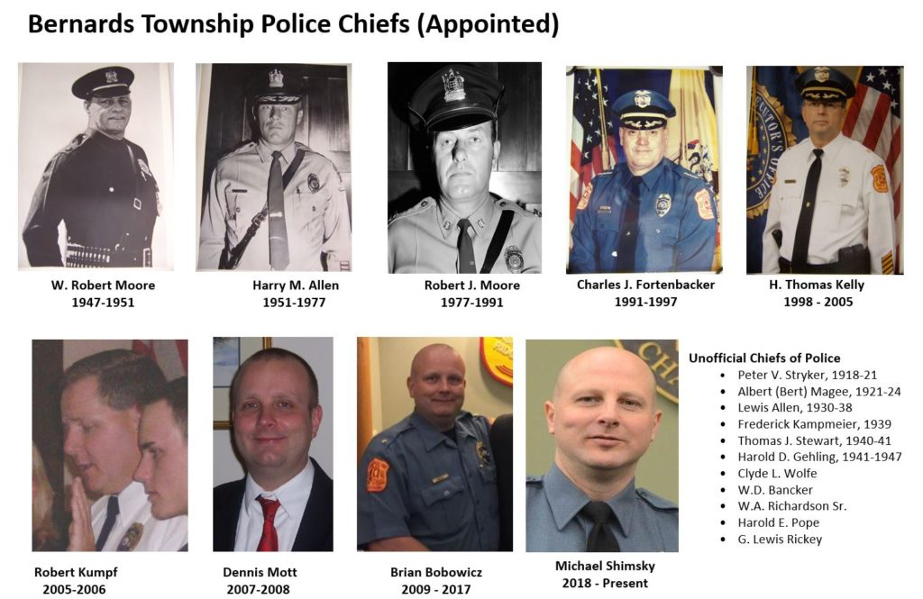 Bernards Township Police Department Chiefs of Police - Mr. Local History