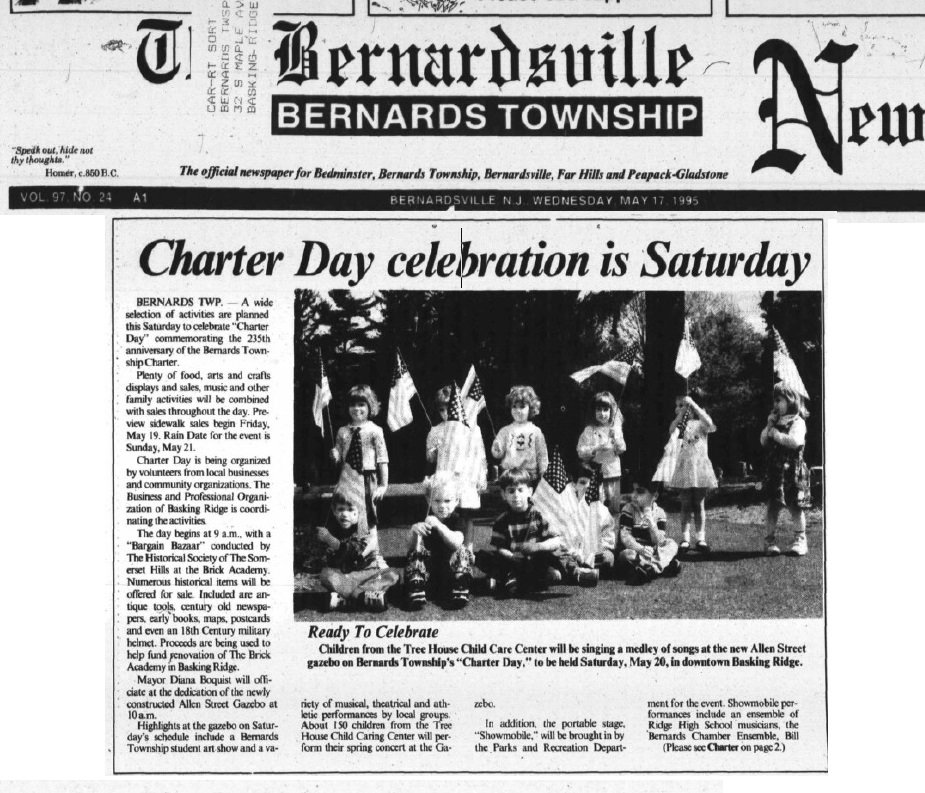 The first Charter Day celebration in Bernards Township marked the end of an era. The Kiwanis Fair never occured again.