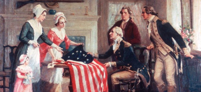 Betsy Ross Painting with General Washington