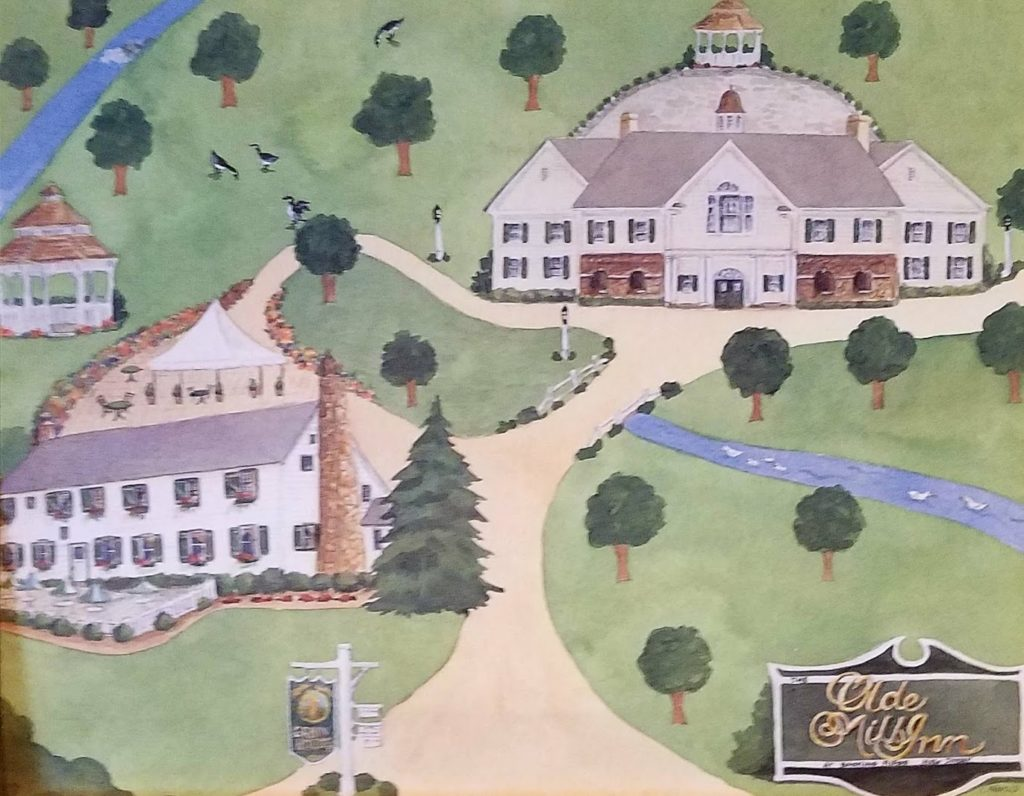 Click to enlarge. A fun rendition of the area that's painted on the walls of the Grain House.