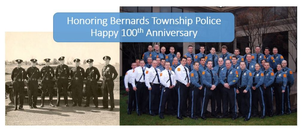 UPDATE: Visit our Social Media Facebook Page to see two Bernards Township Police photos every day in April as we celebrate their 100 year journey.   https://www.facebook.com/mrlocalhistory/