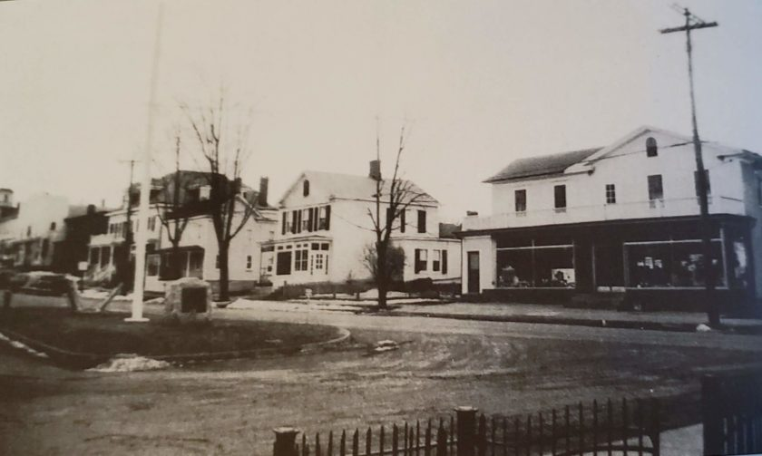 The Basking Ridge town green c.1940. The WWI monument is facing the church, Cerino Brothers grocery store is  to the right and post office next to that. In 1927 the island was donated to the township allowing for only a flagpole and the monument. (yes the fire hydrant didn't count). Source: Janet C. Arleo and book Around and About Basking Ridge, Liberty Corner and Lyons