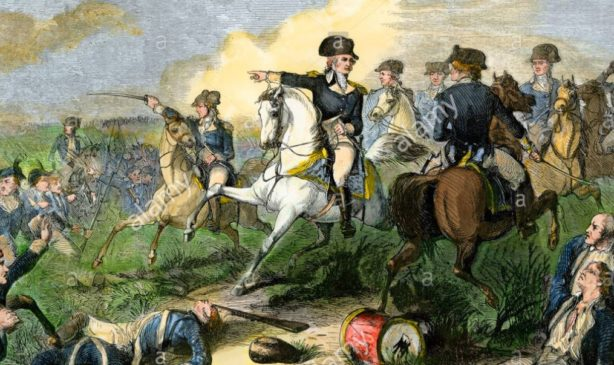 Major General Washington telling General Charles Lee to not retreat at the Battle of Monmouth.