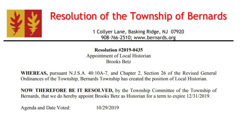 Resolution #2019-0435 Appointment of Local Historian Brooks Betz