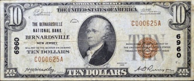 1929 Bernardsville National Bank $10 note.