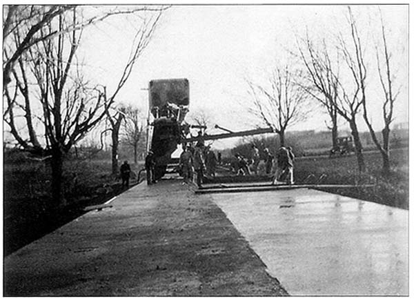 Basking Ridge's South Maple Avenue getting paved c 1928