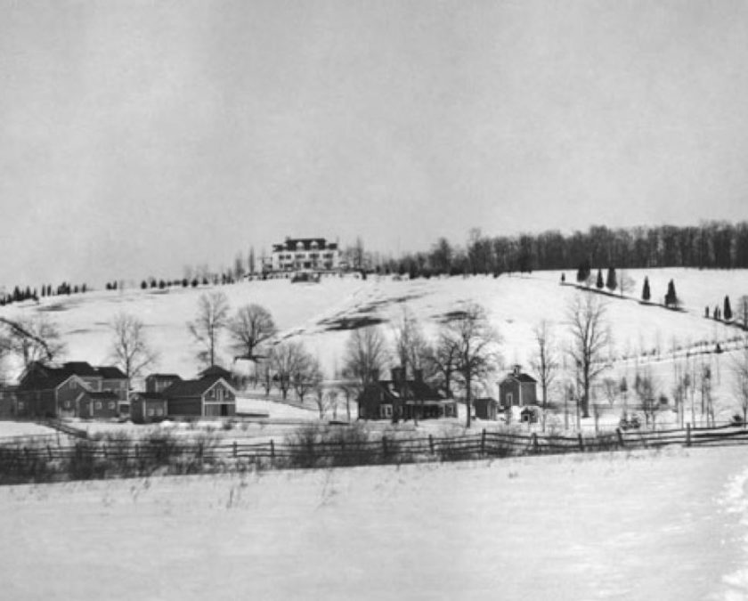 Zachariah and Kate Belcher home called Sunnybranch at the top of the Peapack Hill just near where Natirar stands today. c1905