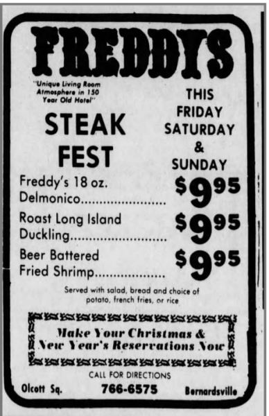 Freddy's Tavern had a great meal presence as well. Steaks for under $10 in 1983