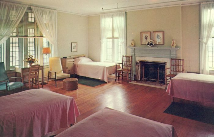 A view of the bedroom at the Kate Macy Ladd Convalescent Home in Peapack. Verso states the postcard was copyrighted in 1977 and published by The Scheller Co., Hackettstown, N.J. Source: Rutgers Library