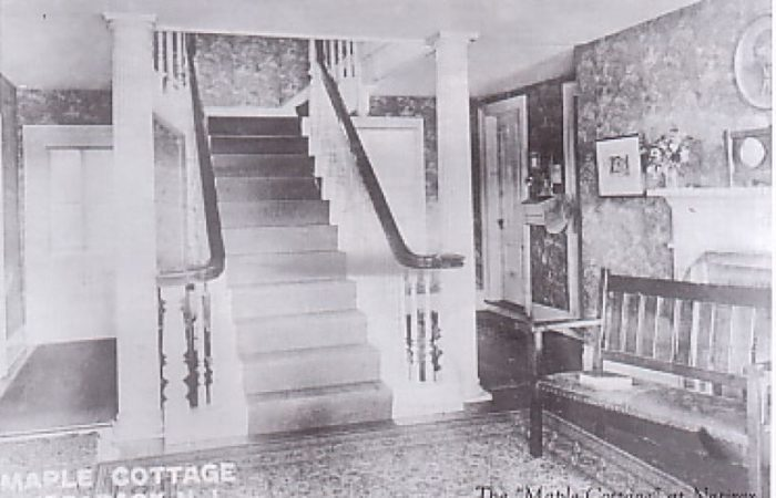 Inside the main entrance to Maple Cottage in Peapack, New Jersey