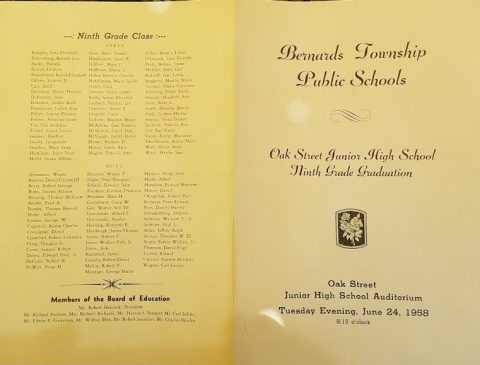 Oak Street Junior High School Graduation 1958 - Basking Ridge - Mr Local History Project