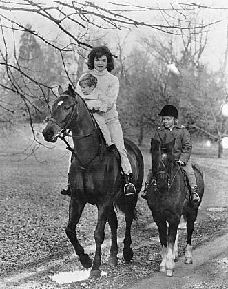 Jackie and children riding
