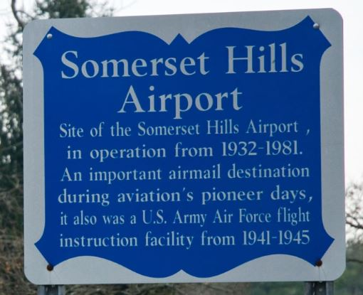 Somerset Hills Airport Basking Ridge Historic Marker