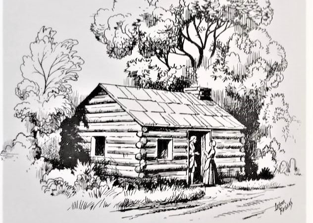 An artist rendering of the first church and schoolhouse in the Somerset Hills which was started back in the 1750s.