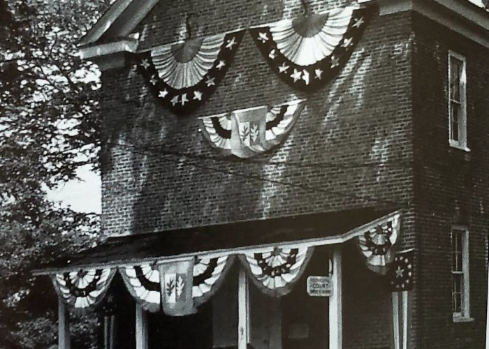 Brick Academy dressed for the township's Bicentennial c.1960