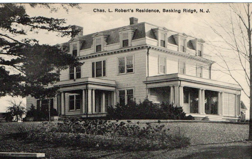The Orchard Farm c. 1910 was built around 1870 at the corner of Madisonville Road and North Maple Avenue in the Madisonville section of Bernards Township. This was the largest Second Empire style house in Basking Ridge. For 40 years the Charles Roberts family lived there. Mr. Roberts was a prominent banker and the secretary/treasurer of the Childs Restaurant chain.