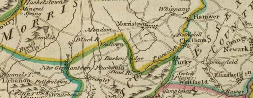 Vealtown also known as Bernardsville on 1814 Map