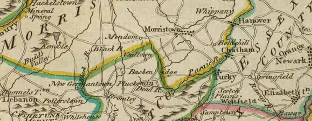 Vealtown also known as Bernardsville on 1814 Map