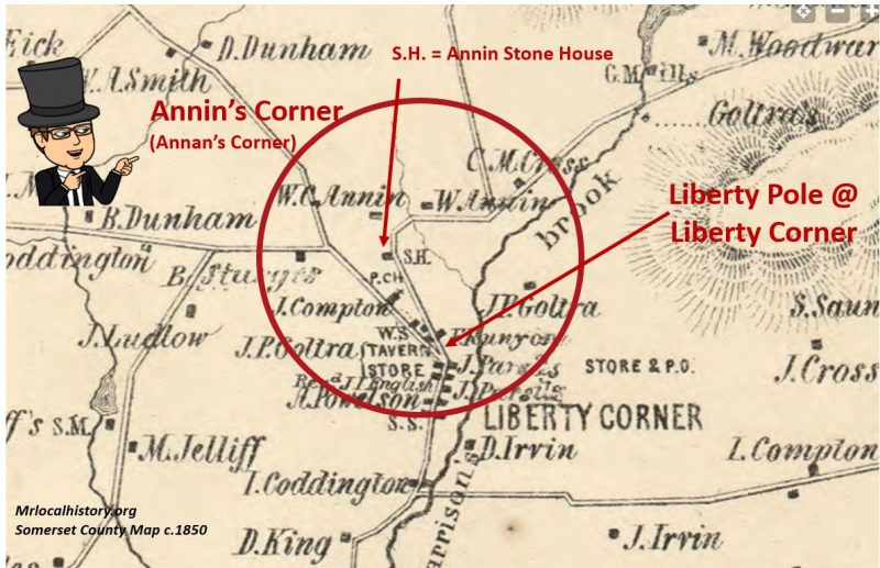 Annins Corner Liberty Corner and the Stone House c.1850 - Mr Local History Project