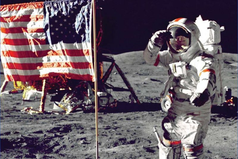 """On July 20, 1969, Neil Armstrong and """"Buzz"""" Aldrin stepped out from the Lunar Module and planted an Annin-made U.S. flag on the moon's surface, where it remains today."""