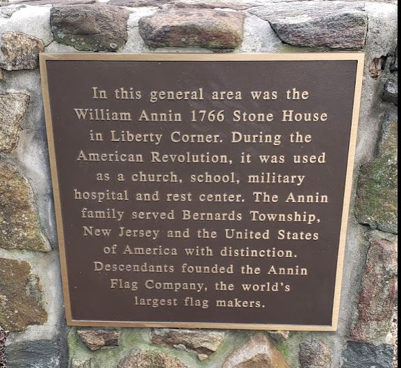 Plaque honoring the Annin family just off Canterbury Road in Basking Ridge.
