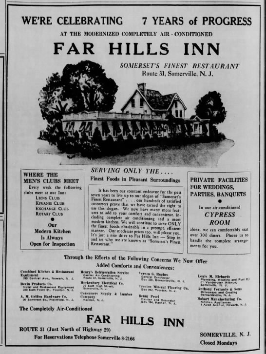 The Far Hills Inn was actually where the current Bridgewater BMW is located today - Mr Local History