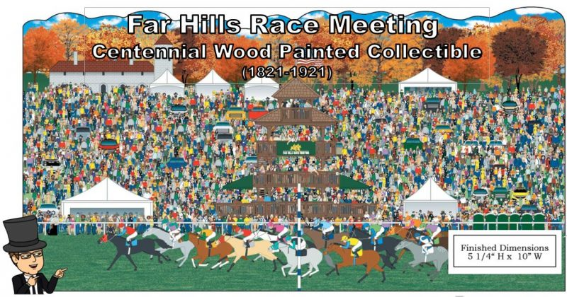 Far Hills Race Meeting 100th Anniversary Collectible - Mr Local History Cats Meow Village Wooden Keepsake