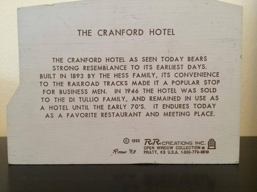 A keepsake made back in the 1990s honoring the history of the Cranford Hotel. No longer available.