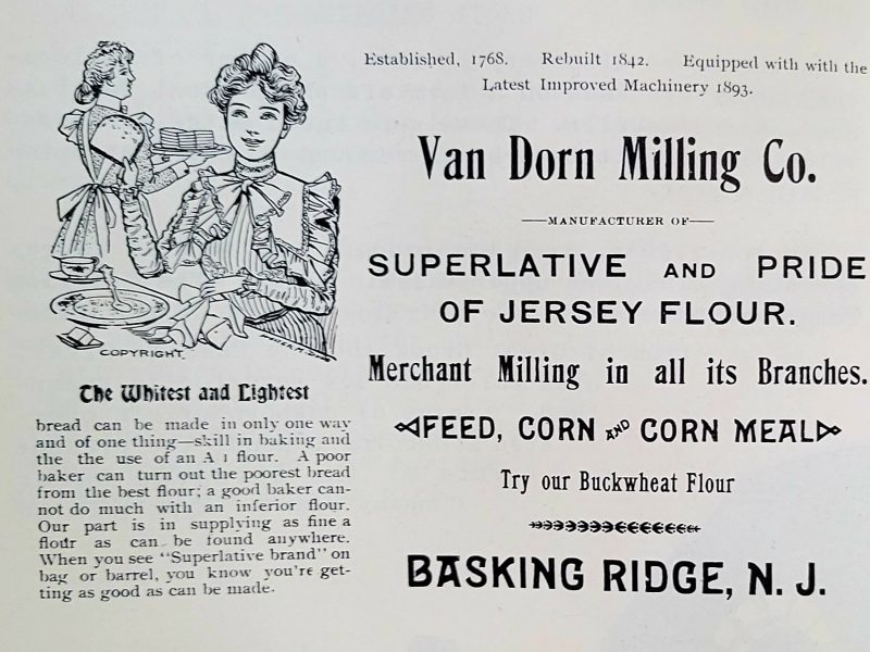 An early advertisement for the products made at the Van Dorn Mill in Franklin Corners