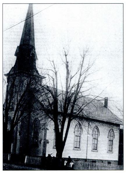 The First Presbyterian Church at 84 Broad Street in Keyport was built in 1868. This image is from the church's 1932 anniversary souvenir booklet. Reverend A.P. Mershon. Source: Images of America: Keyport