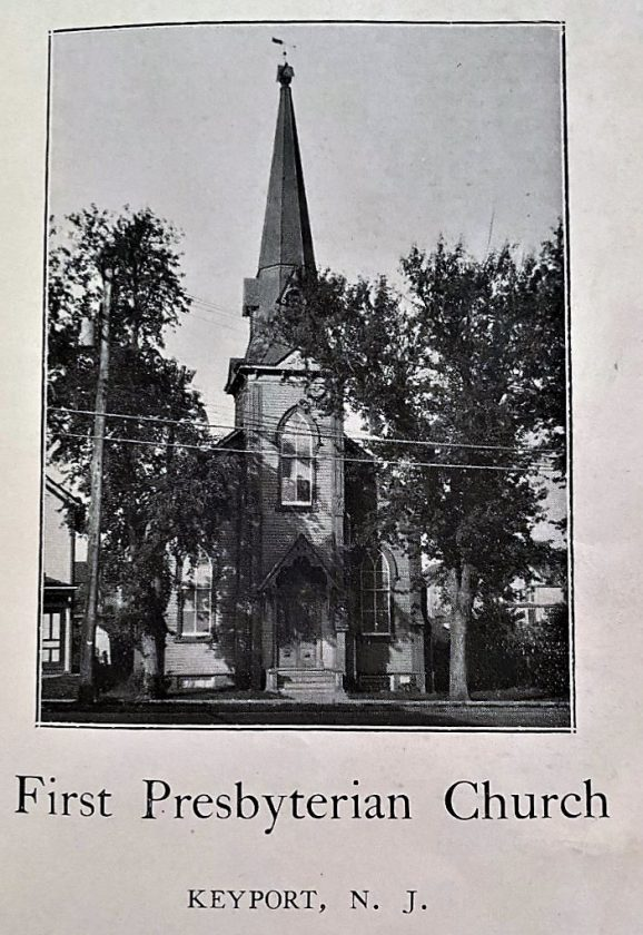 The First Presbyterian Church at 84 Broad Street in Keyport was built in 1868. This image is from the church's 1932 anniversary souvenir booklet. Source: Keyport Historical Society.